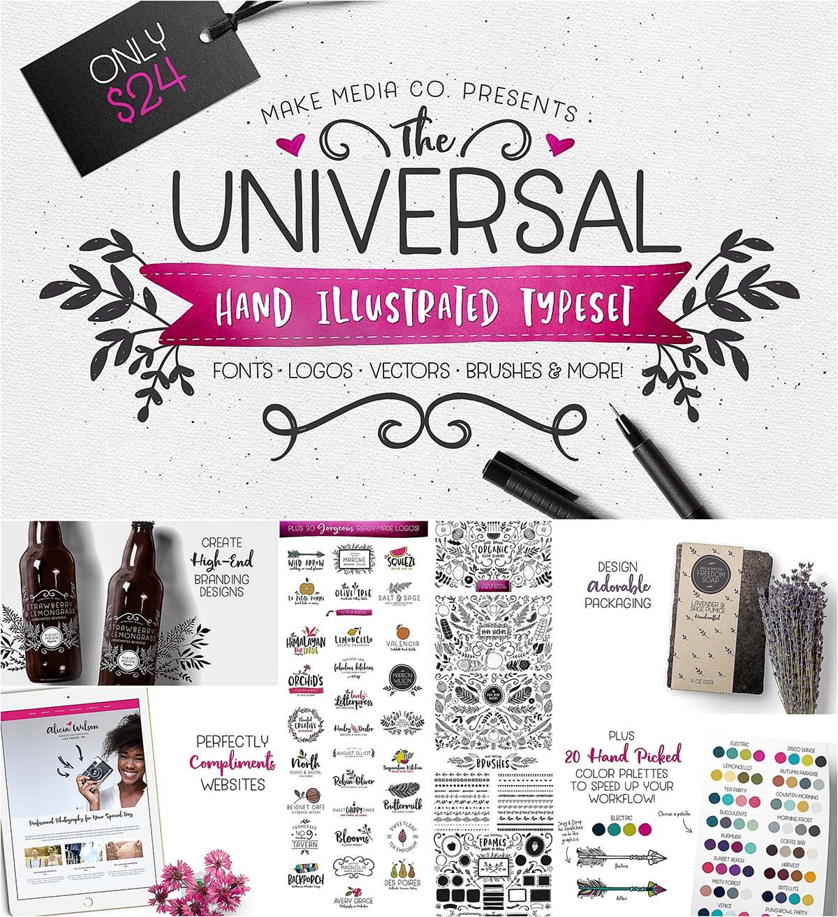 Universal hand drawn typeset