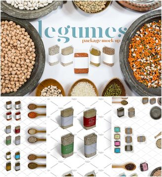 Legumes package mockup set