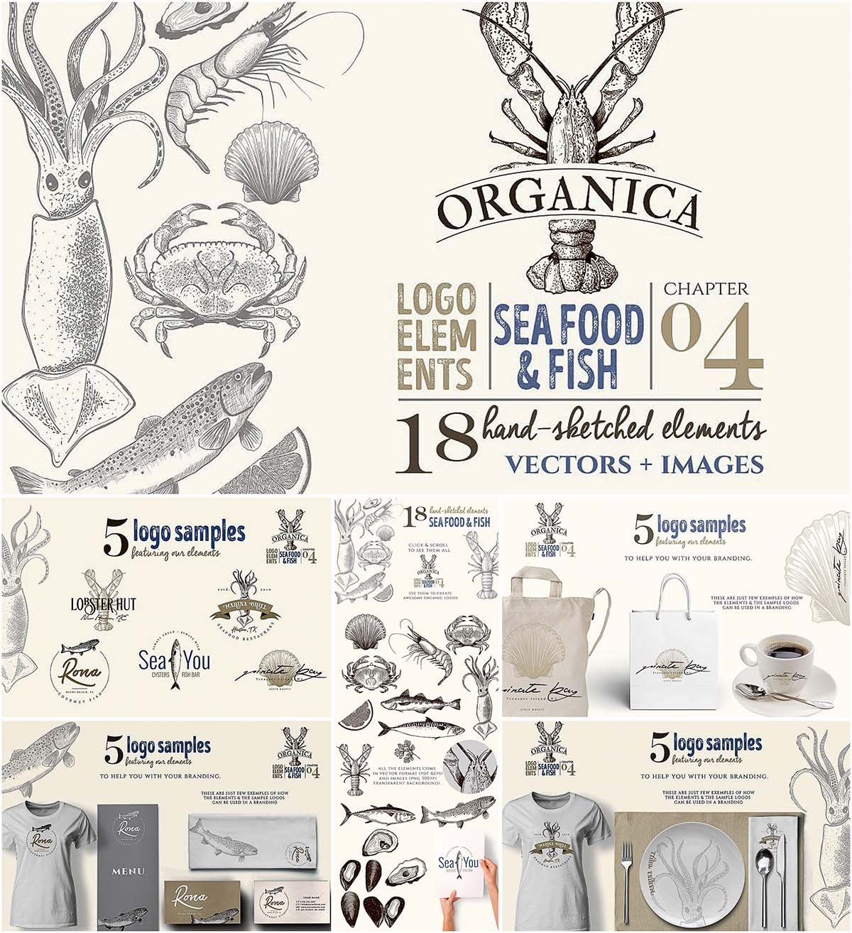 Hand sketched organic logo seafood