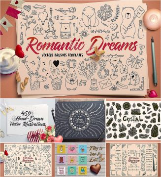 Romantic elements brushes and cards set