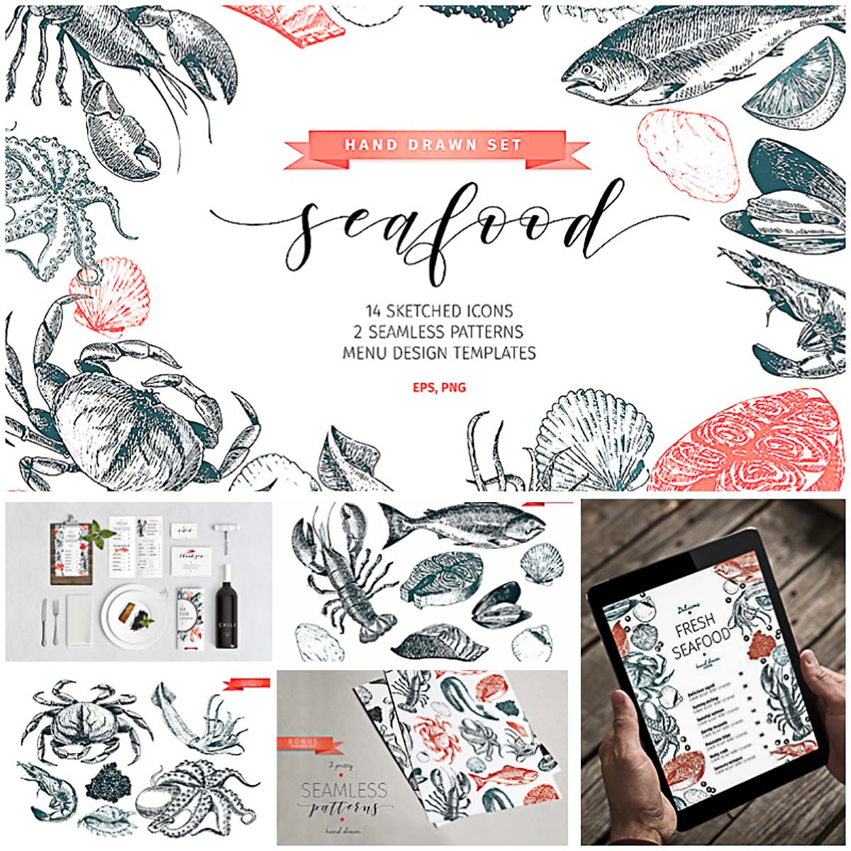 Seafood illustrations set