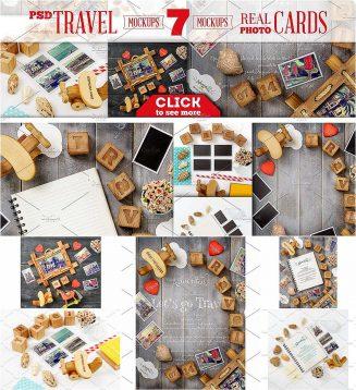 Travel cards mockups set