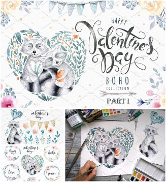 Valentine's day racoons boho set