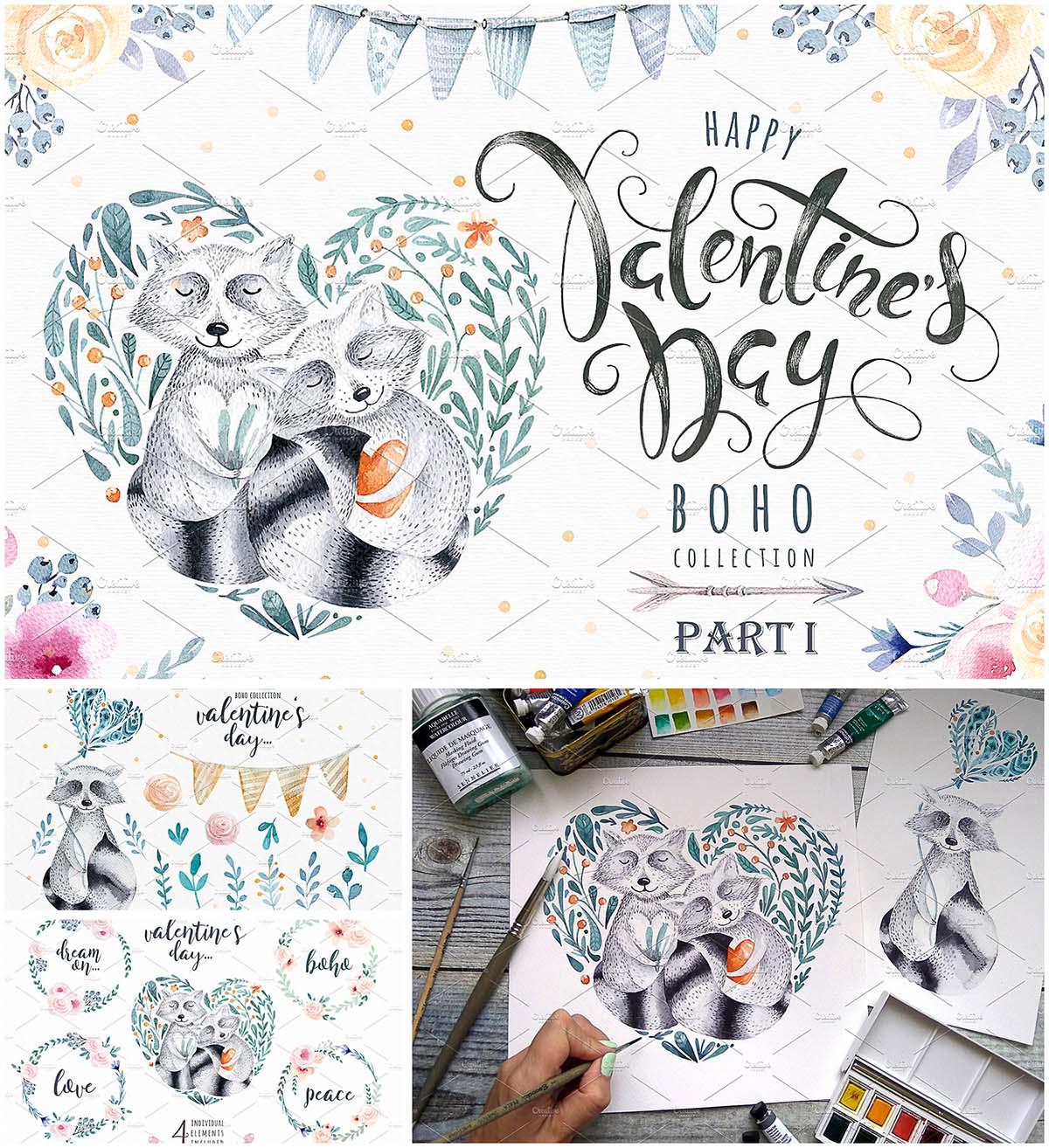Valentine's day racoons boho set