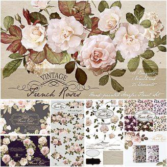 Vintage roses acrilic paint