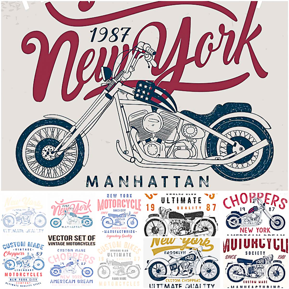 10 vintage motorcycle T-Shirt prints
