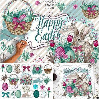 Happy Easter watercoor illustrations
