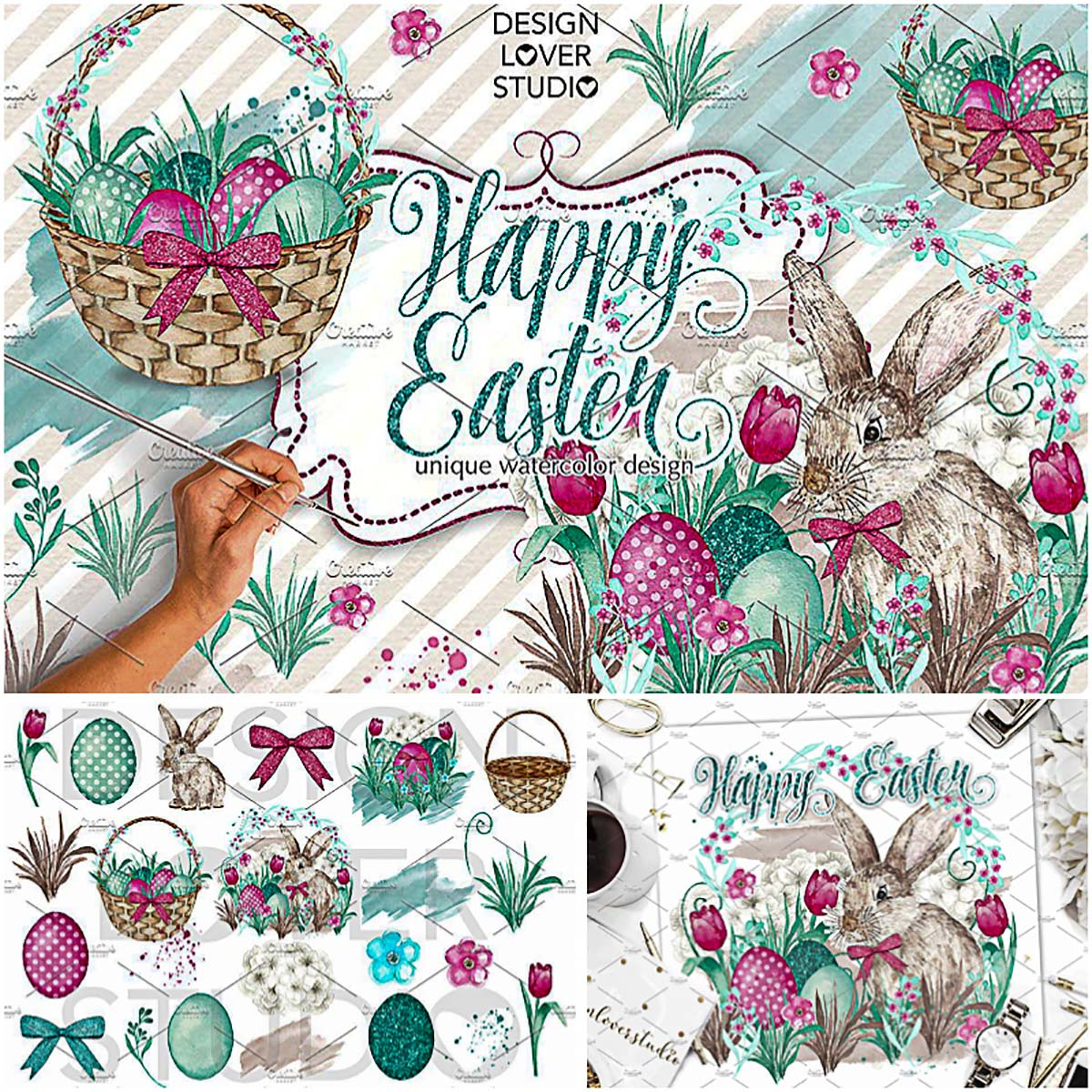 Happy Easter watercoor illustrations