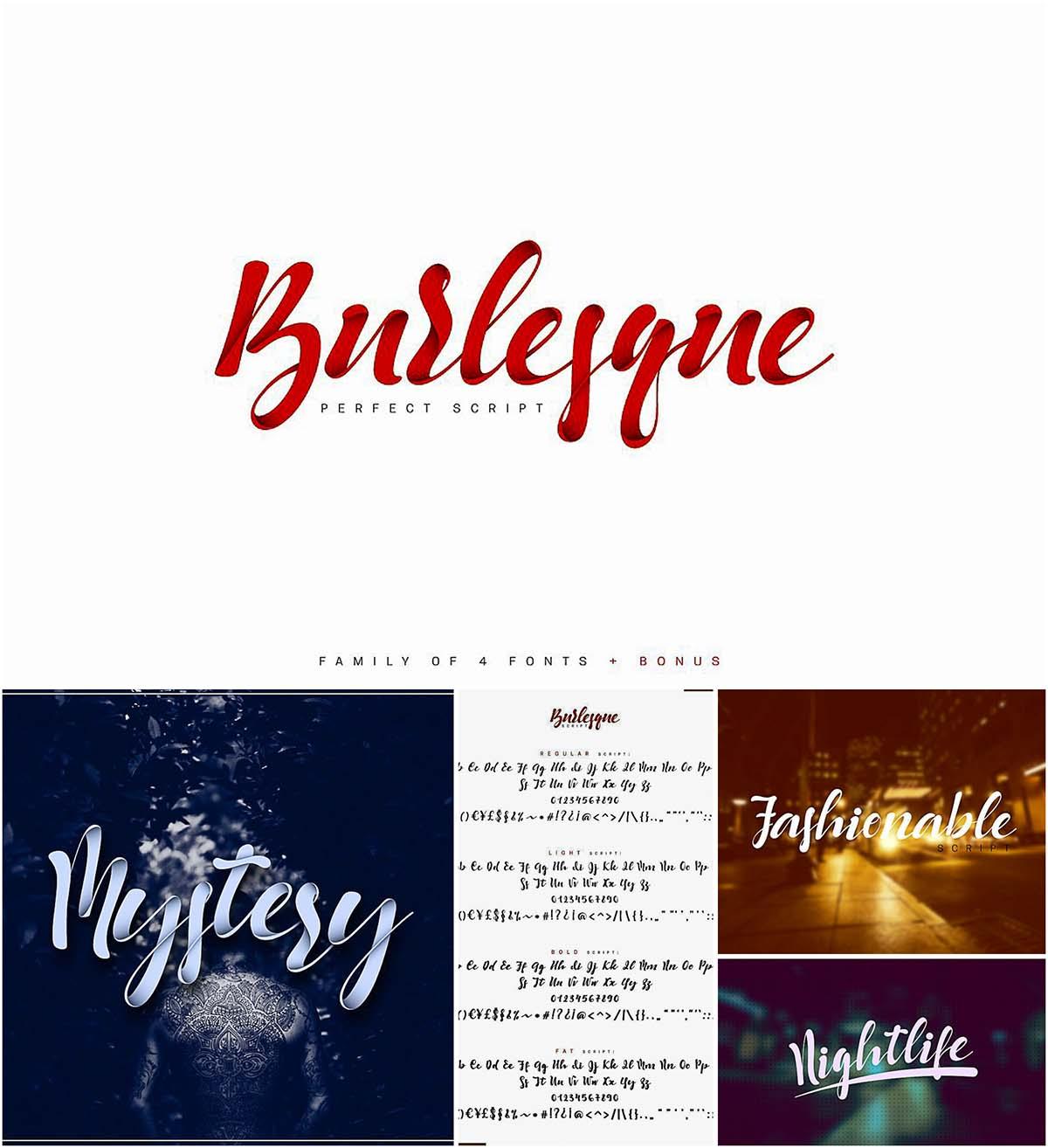 Burlesque font set