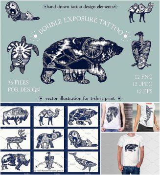 Double exposure tattoo T-Shirt print