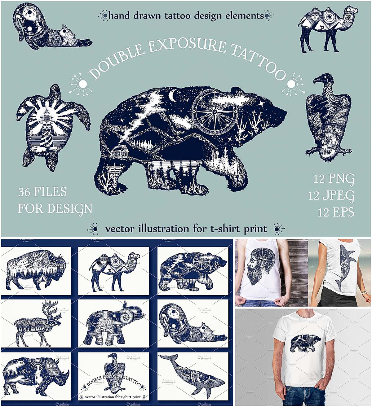 Double exposure tattoo T-Shirt print