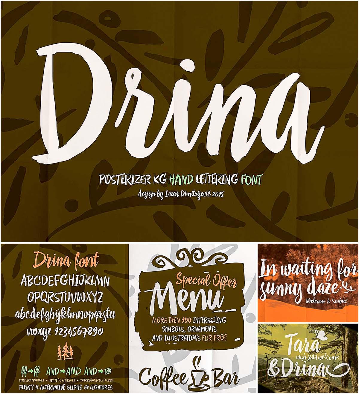 Drina handwritting cyrillic font