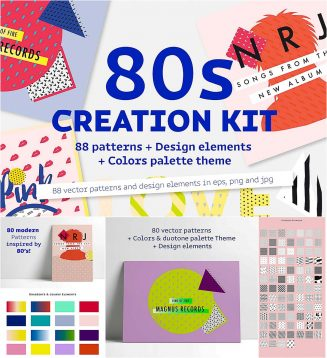 Eighties creation kit with patterns and elements