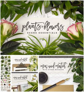 Essential flowers and plants mockup set