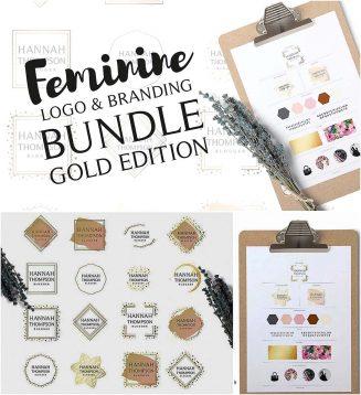 Feminine logo branding gold set