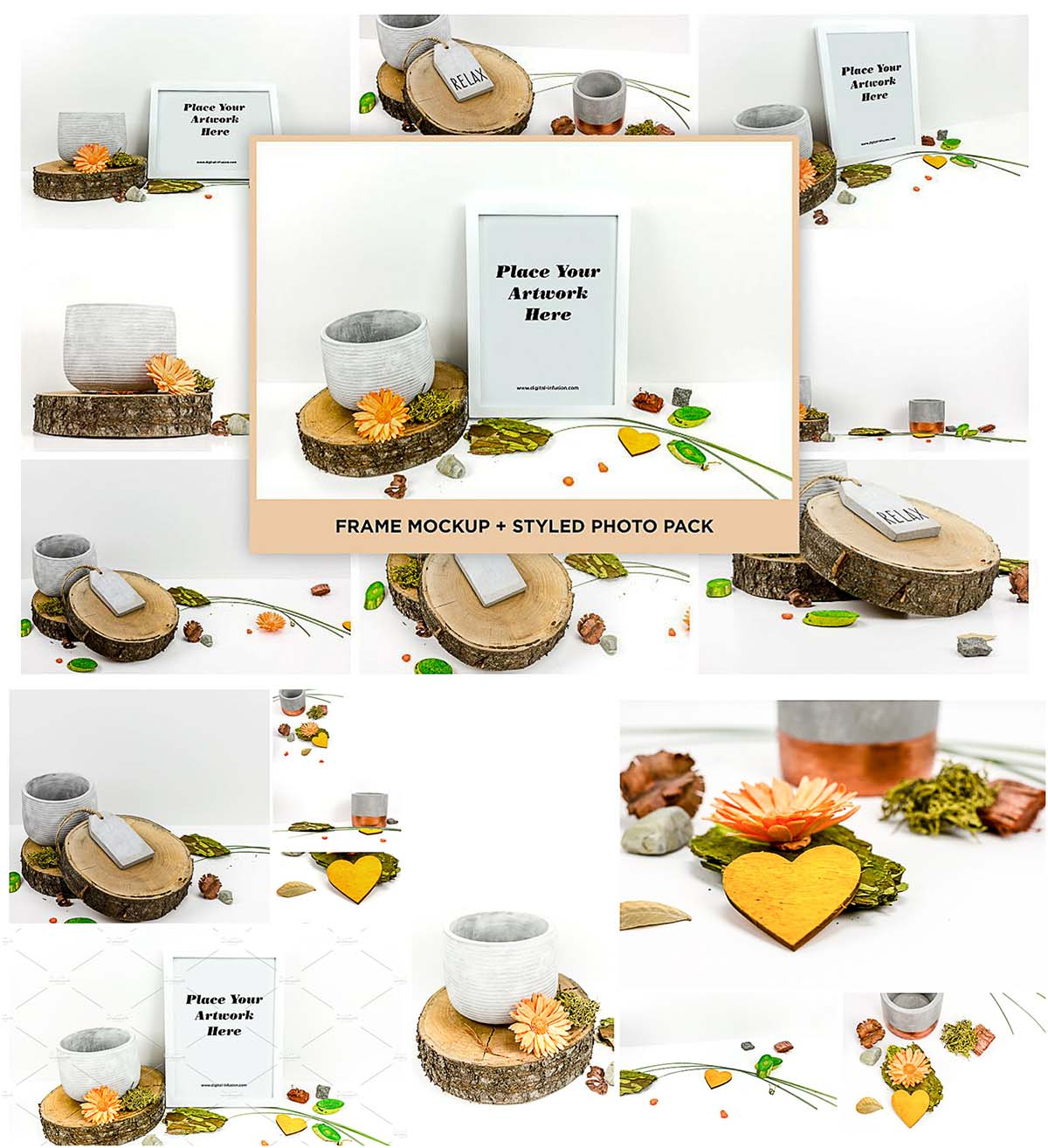 Styled photo frames and wood