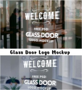 Glass door free psd mockup