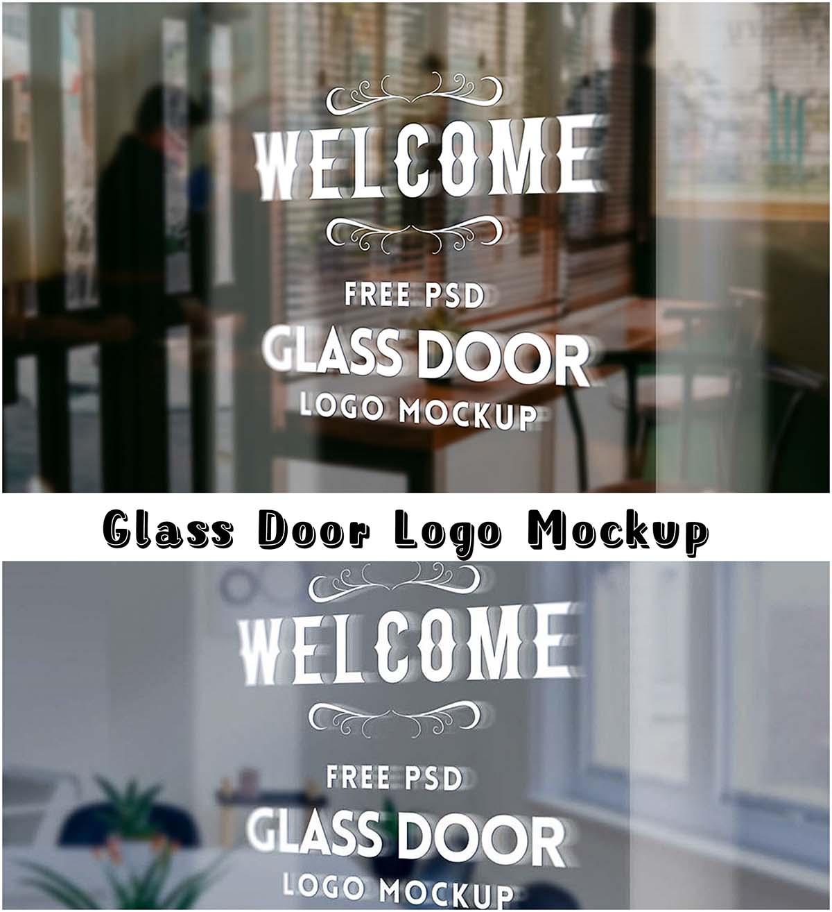 Glass door logo mockup