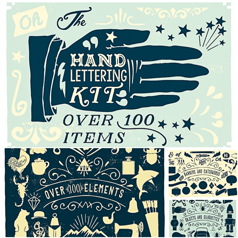 Handlettering vector kit 100 items