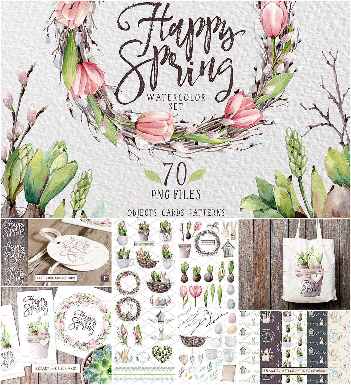 70 spring patterns and illustrations for Easter