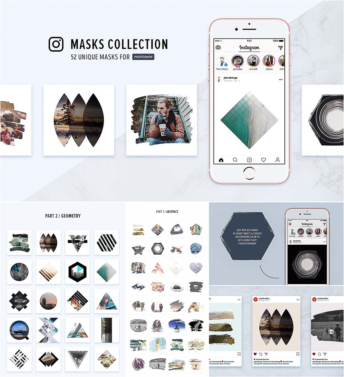 Masks collection for Instagram