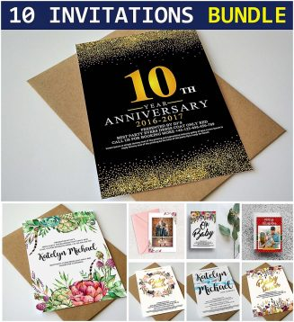 10 invitation wedding birtday card