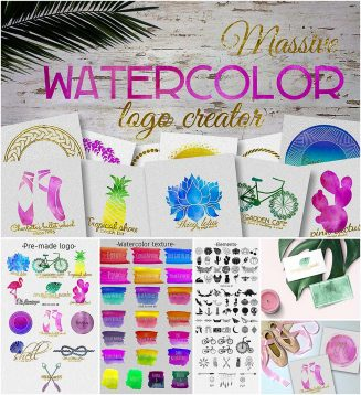 Watercolor logo creator pack