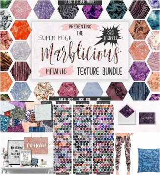 Metallic marble textures collection