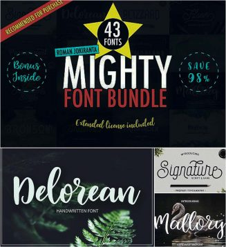 43 mighty font bundle
