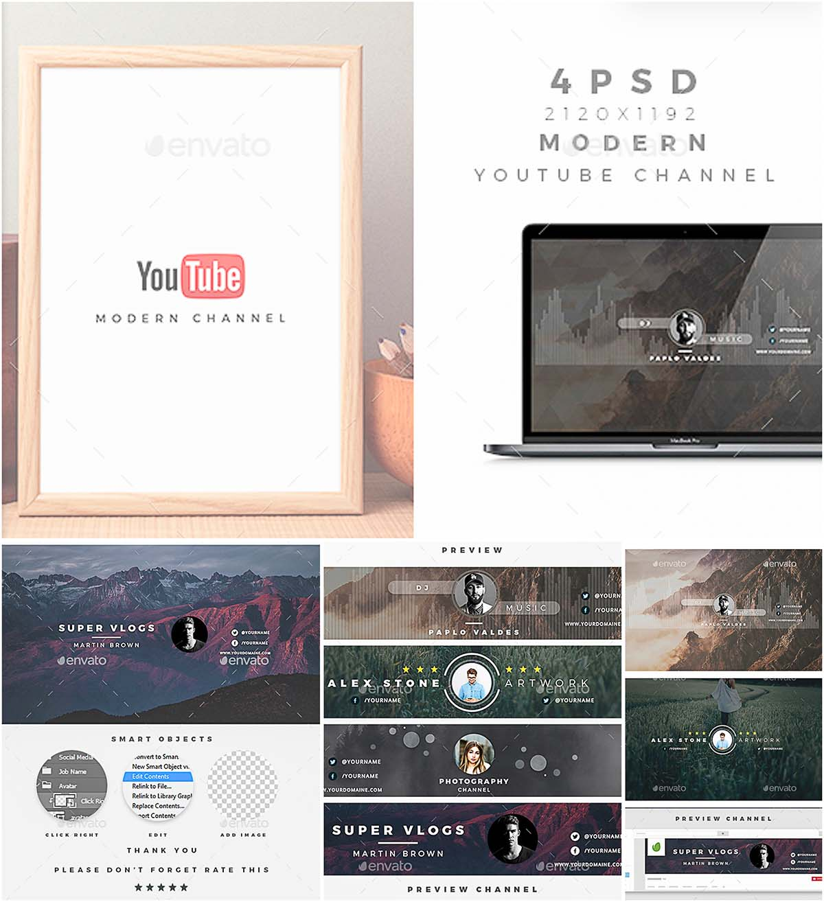Modern youtube channel banners