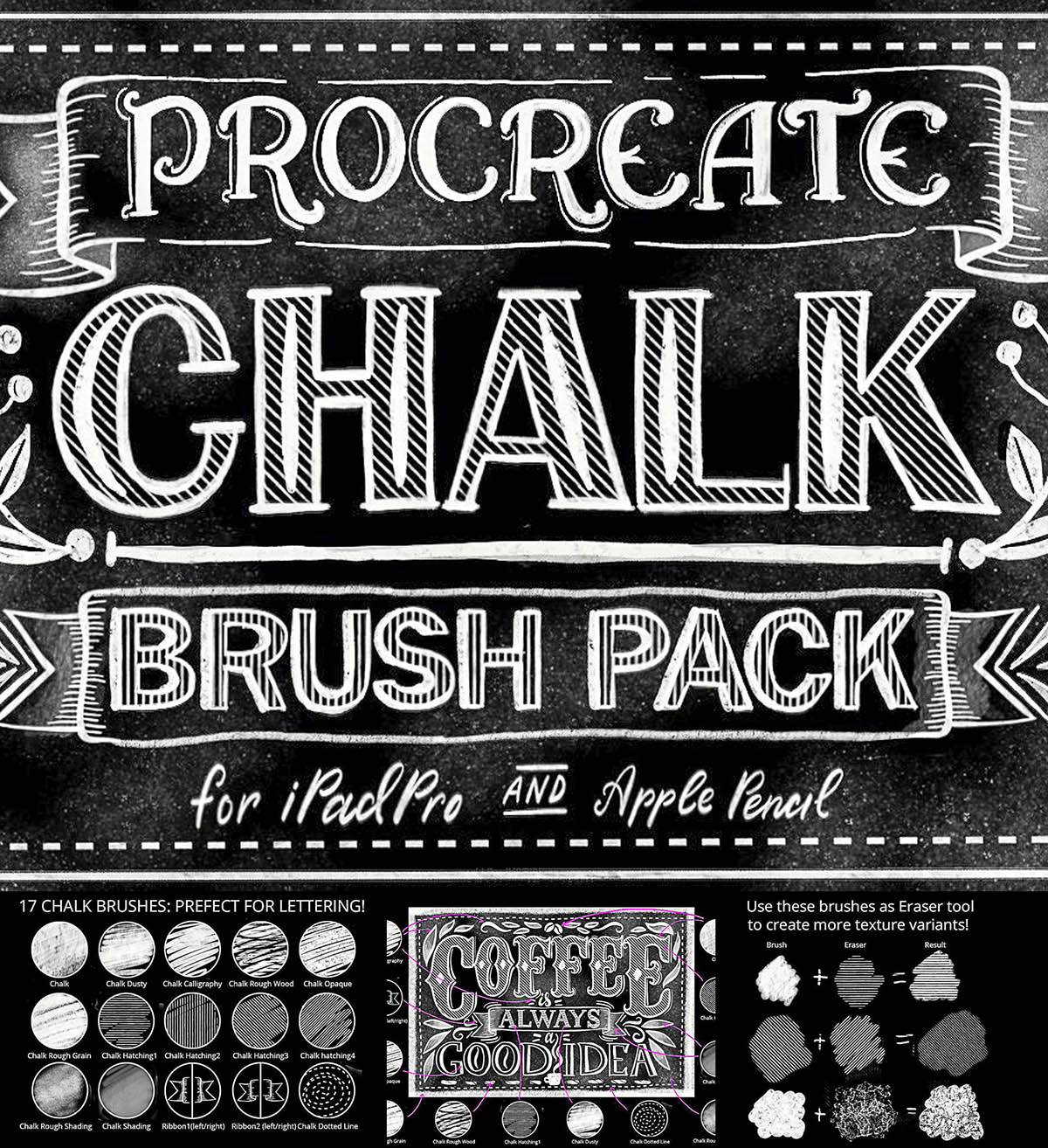Chalk lettering procreate brush
