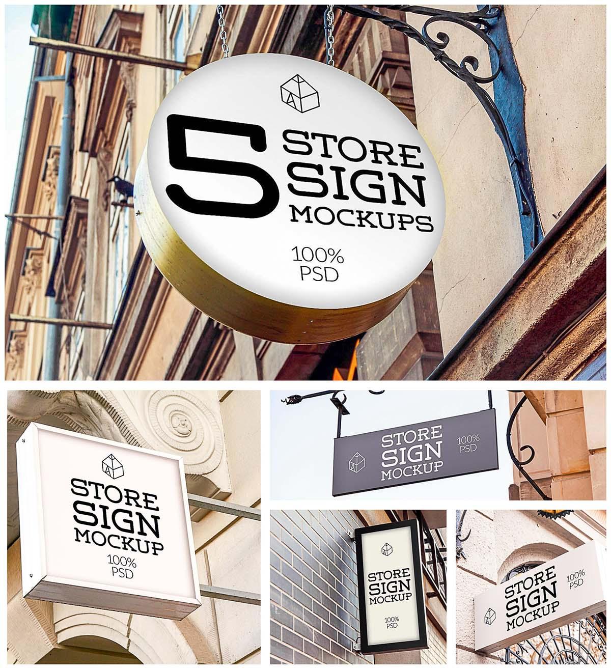 Store signs mockup set