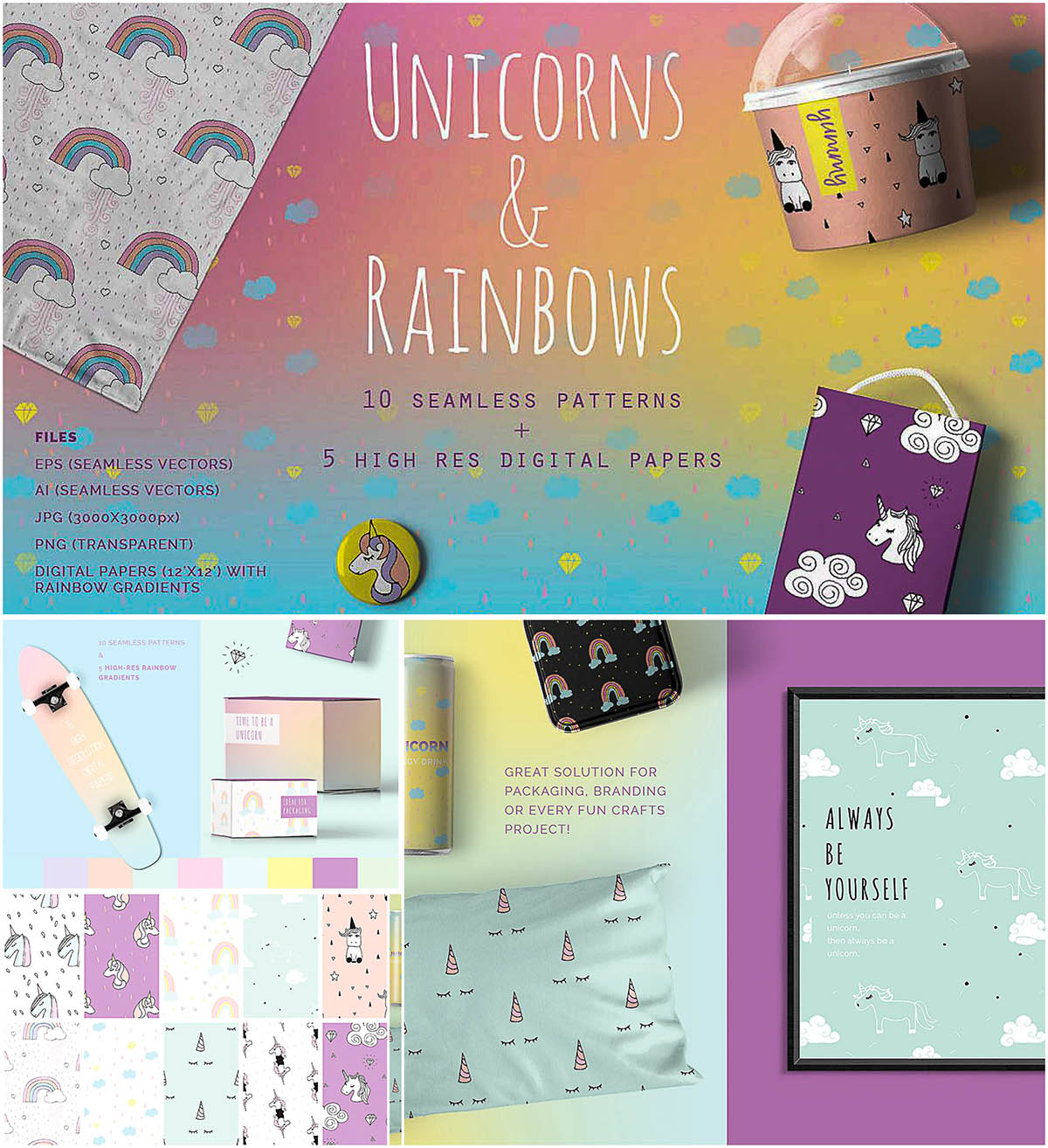 unicorns rainbows seamless patterns