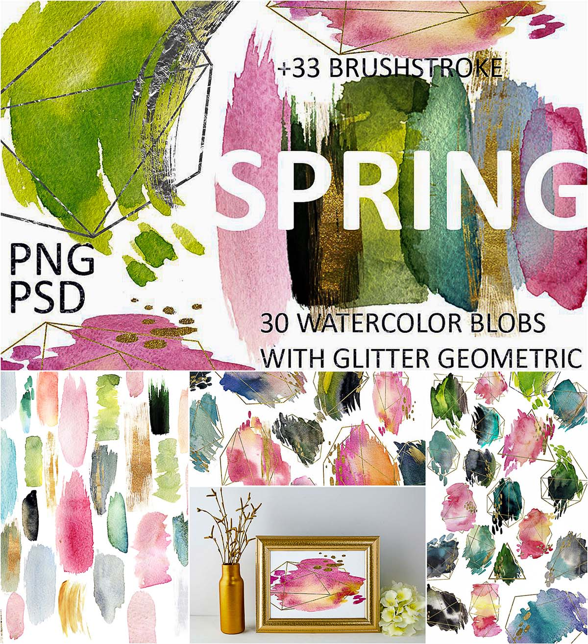 Spring watercolor blobs and geometric brushstrokes