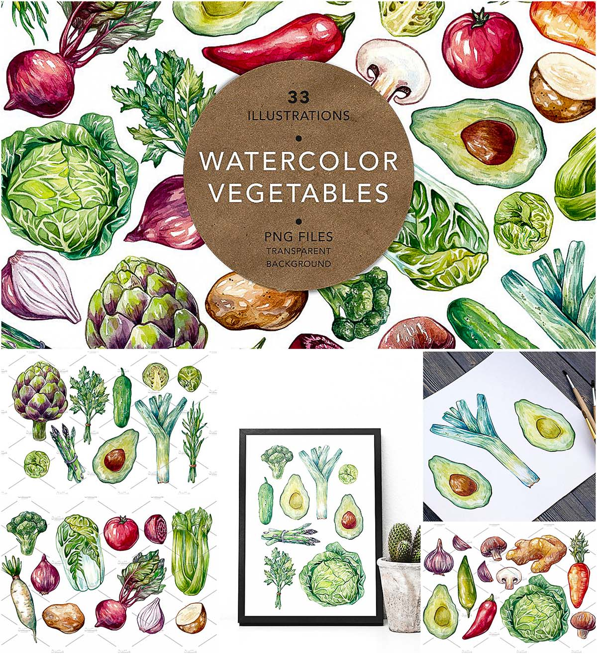Watercolor vegetables illustrations