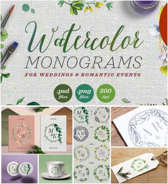 Watercolor monograms for wedding