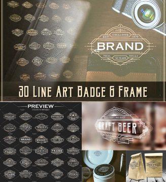 Art deco line badges and frames