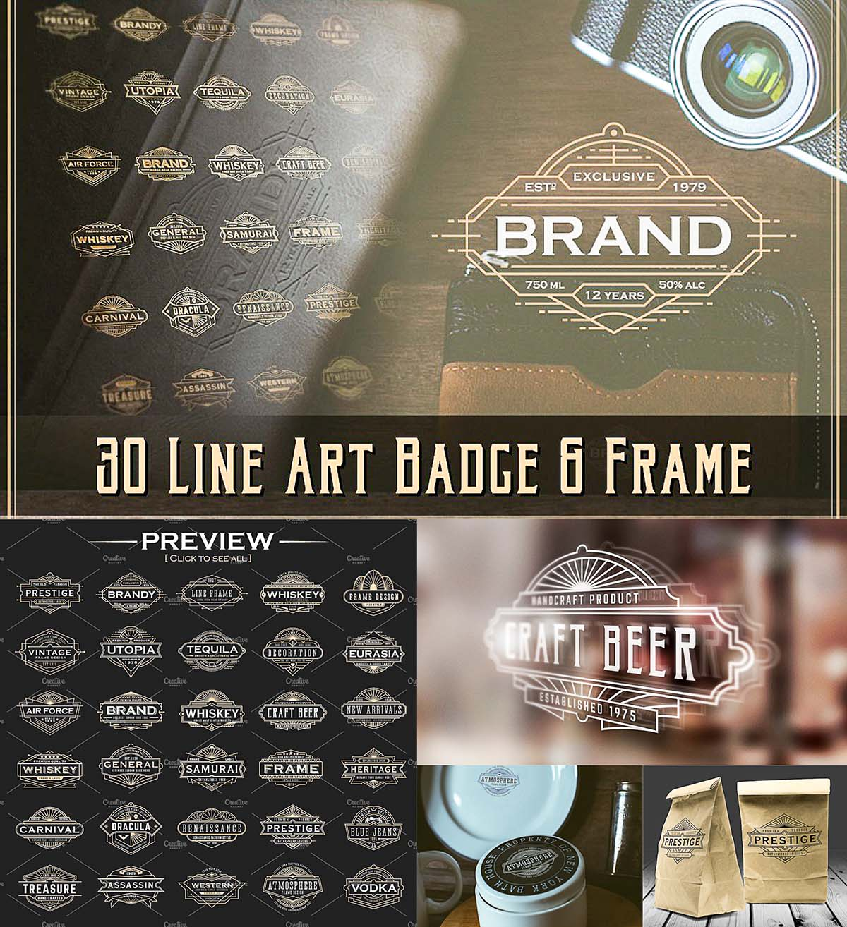 Art deco line badges and frames