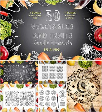 Vegetables and fruits vector patterns and elements