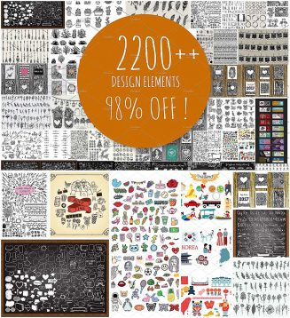2200+ hand drawn elements bundle