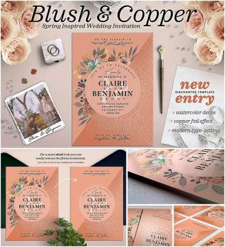 Blush copper wedding invite