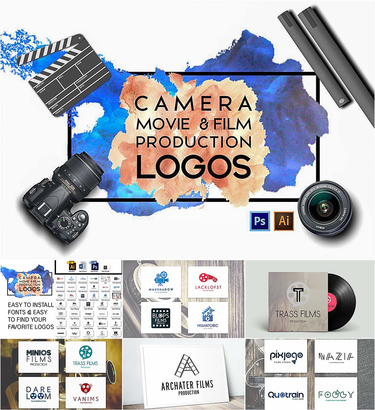 Camera film production logo templates