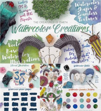 Watercolor creatures