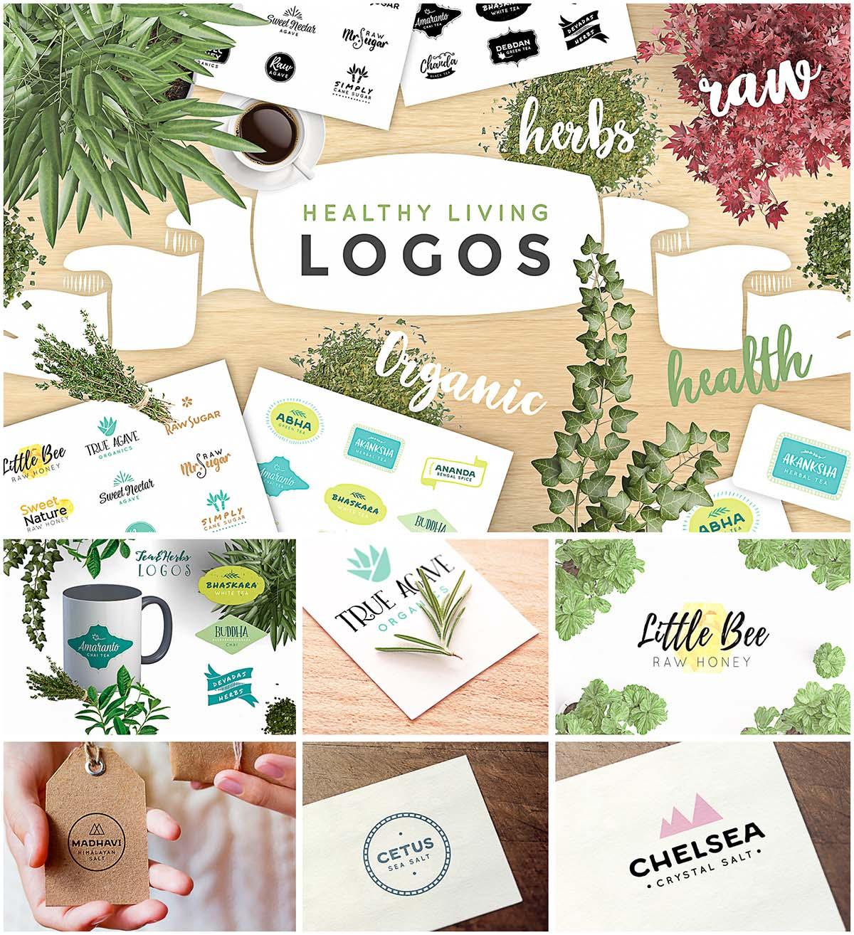 Organic healthy logo set
