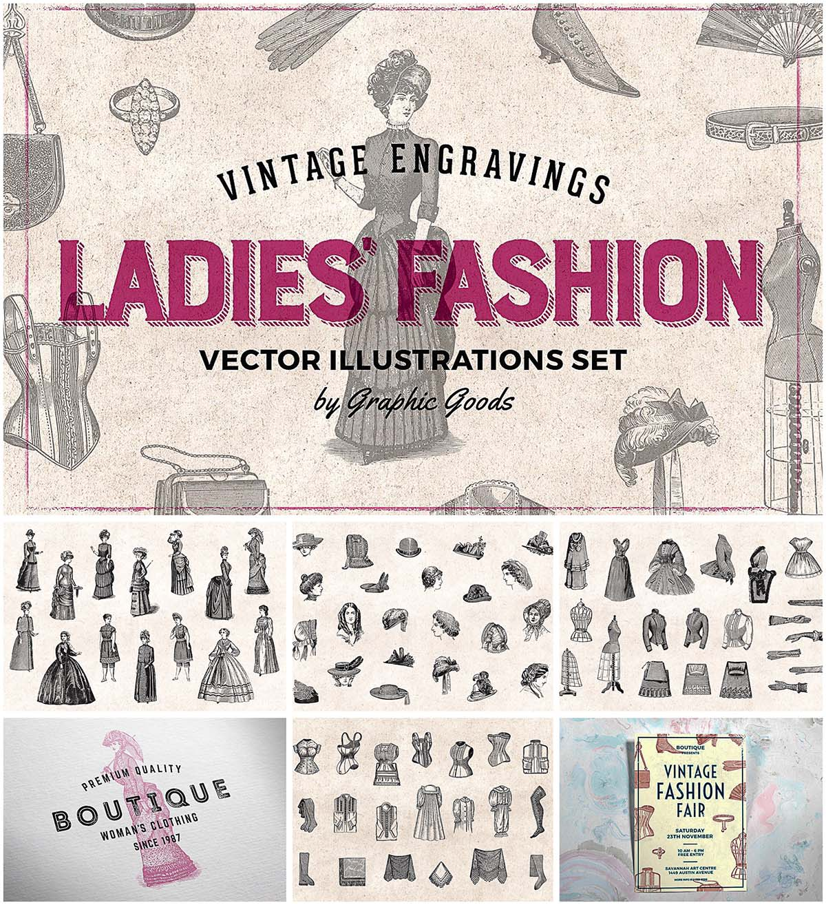Ladies fashion engravings collection