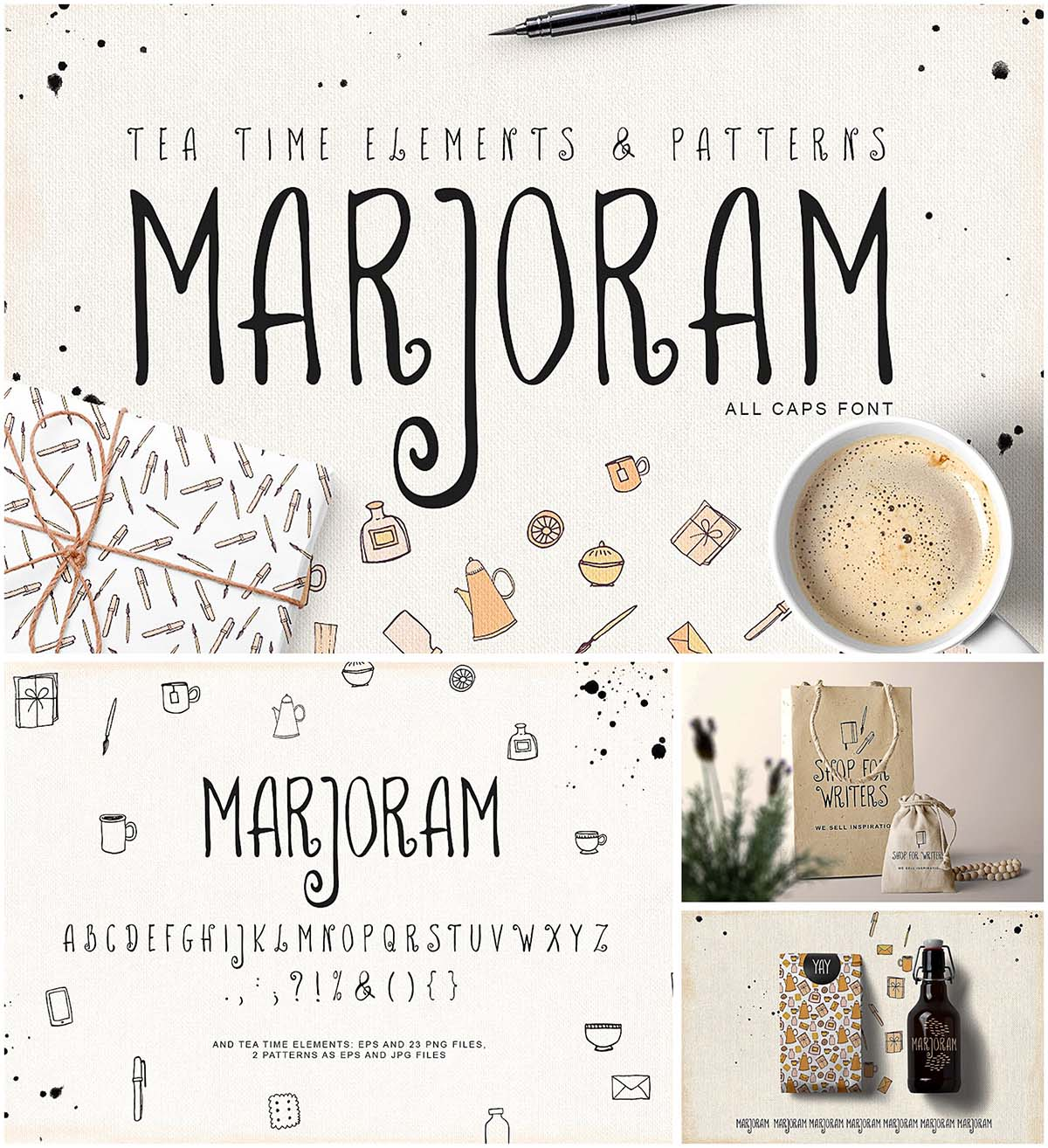 Marjoran font with illustrations
