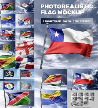 Photorealistic flag mockup set