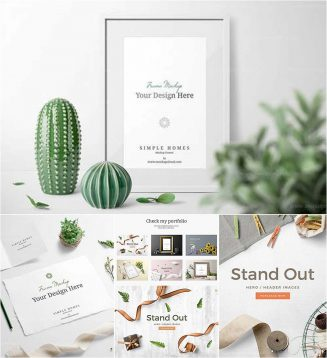 Simple home header mockup set