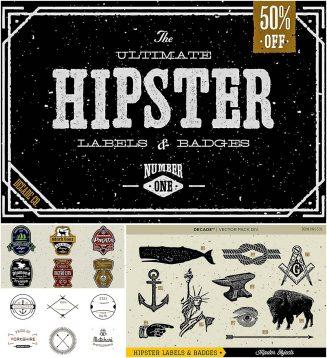 Ultimate Hipster badges vector set