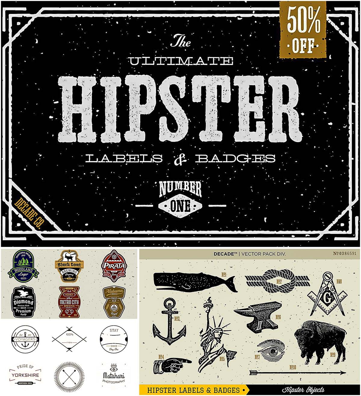 Ultimate Hipster badges vector set